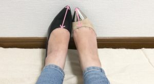 パンプスの足の甲部分の長さ比べ